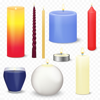 Realistic 3d candles set