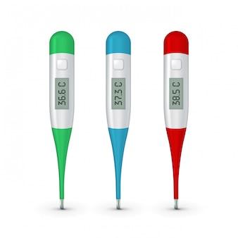 Реалистичные 3d цельсия электронный медицинский термометр для измерения набора closeupisolated.