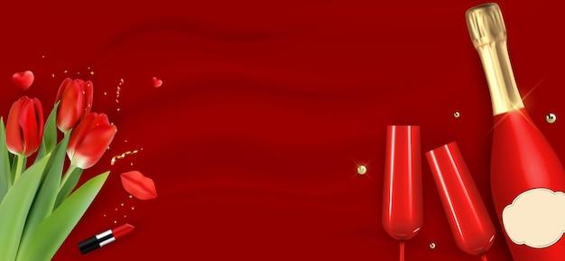 Реалистичная 3d бутылка шампанского, очки и тюльпаны на красном шелке.