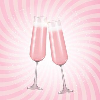 Реалистичный 3d-бокал для шампанского