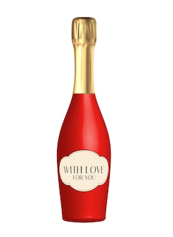 Realistic 3d champagne red bottle isolated