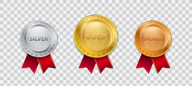 빨간 리본 일러스트와 함께 현실적인 3d 챔피언 금메달