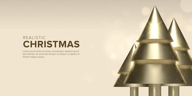 골드 컬러 프리미엄 벡터에서 현실적인 3d 크리스마스 트리 디자인 배경