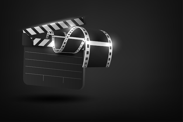 Realistic 3d cinema film strip in perspective isolated