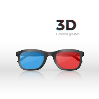 Realistic 3d cinema glasses front view