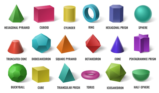 Realistic 3d color basic shapes. solid colored geometric forms, cylinder and colorful cube shape