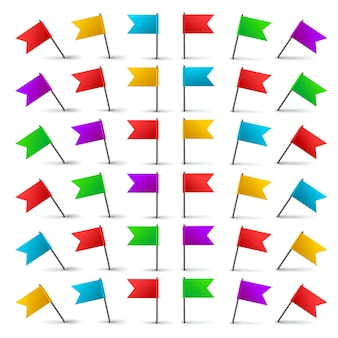 Realistic 3d color flag push pins with and metal needle in different angles isolated set.