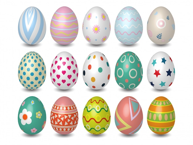 Realistic 3d colored easter eggs different texture, pattern on white background