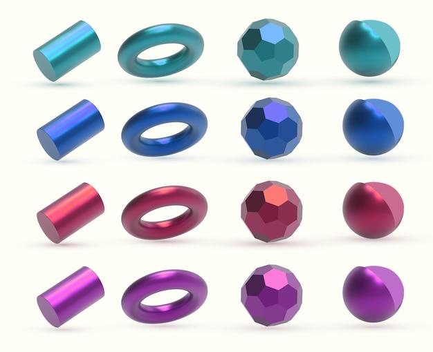 Реалистичные 3d красочные металлические геометрические фигуры объектов.