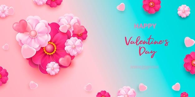 リアルな3dカラフルなロマンチックなバレンタインの心と花。幸せなバレンタインデーの挨拶。