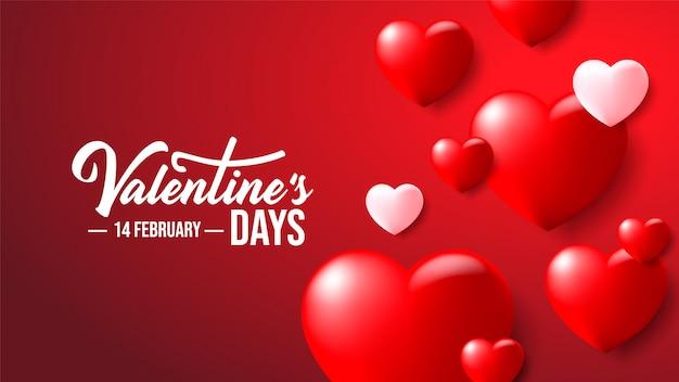 빨간색 배경에 현실적인 3d 화려한 로맨틱 발렌타인 하트