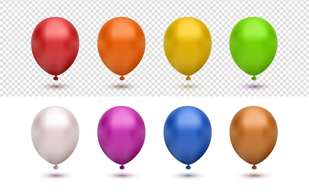 Realistic 3d colorfull balloon collection set on transparent background