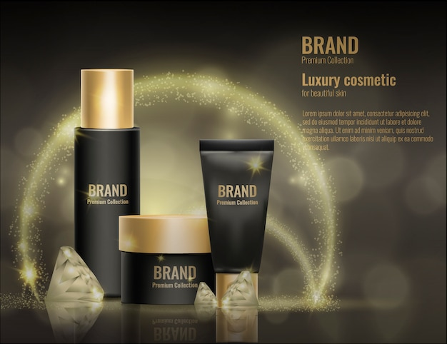 Realistic 3d cosmetic cream template product package gold advertising illustration.