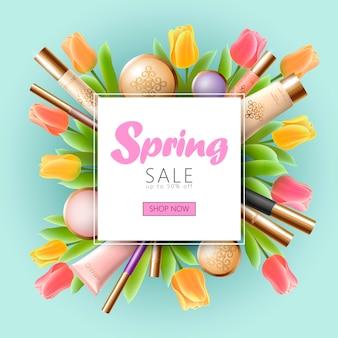 Реалистичные 3d косметические весенние продажи баннер шаблон, квадратный рекламный плакат