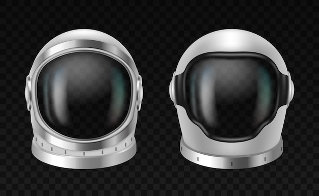 現実的な3d宇宙飛行士のヘルメットは、透明な背景に白いスペースの摩耗要素を詳しく説明しました。宇宙探査のための技術的な保護宇宙服マスク。ベクトルイラスト