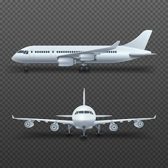 Realistic 3d detail airplane, commercial jet isolated illustration.