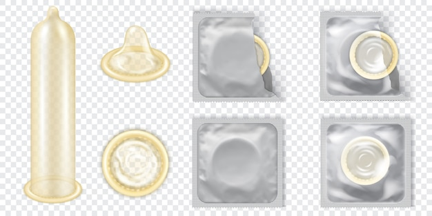 Realistic 3d detailed latex condom vector set.