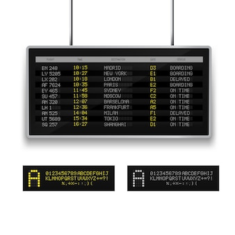 Realistic 3d  digital  led airport board with flight schedule.