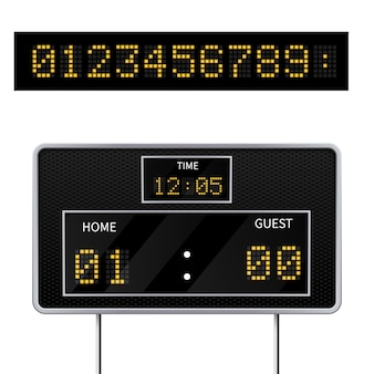 Realistic 3d digital modern sports scoreboard. digital led display to displaying  the result of the game.