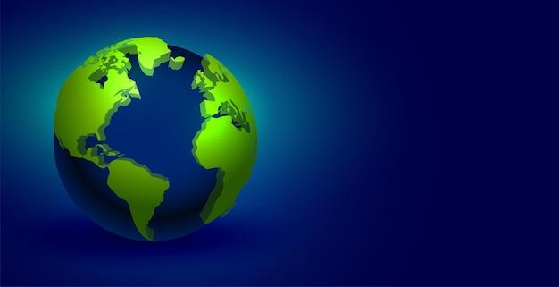 青い背景の上の現実的な3d地球