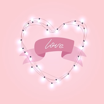 Realistic 3d electric bulb in heart shaped frame with rpink ribbon and love text.