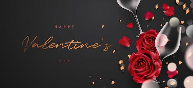 Realistic 3d elegant valentine's day banner illustration