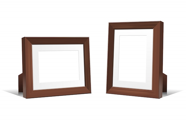 Realistic 3d empty frames of wenge wood.  illustration  on white background.