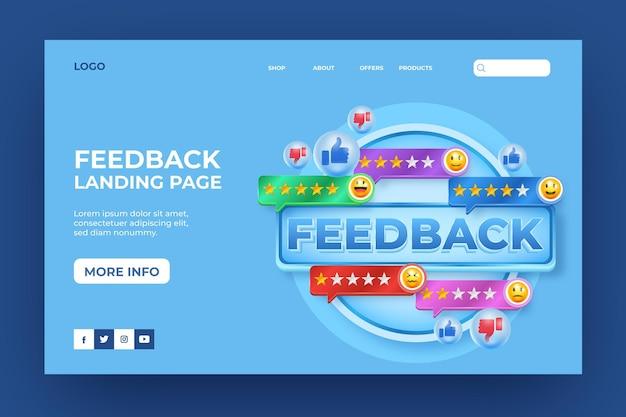 Pagina di destinazione realistica del feedback 3d