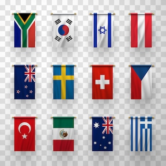 Realistic 3d flags icons countries symbolic set
