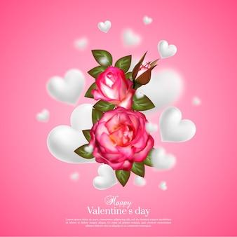 浮かぶぼかしハートとバラのリアルな3dフローラルバレンタインデーカード。幸せなバレンタインデーの挨拶。