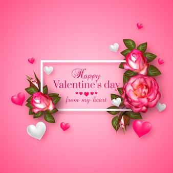 浮かぶハートとバラのリアルな3dフローラルバレンタインデーカード。幸せなバレンタインデーの挨拶。