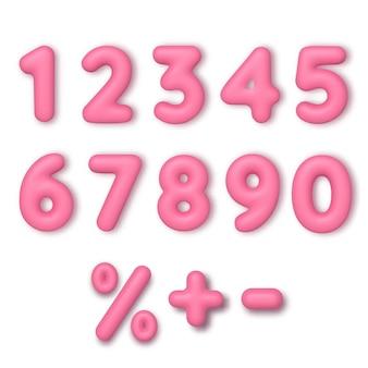 현실적인 3d 글꼴 색상 분홍색 숫자입니다. 풍선 형태의 숫자입니다. 제품, 광고, 웹 배너, 전단지, 인증서 및 엽서 템플릿.