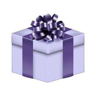 Реалистичная подарочная коробка 3d с бантом и лентой.