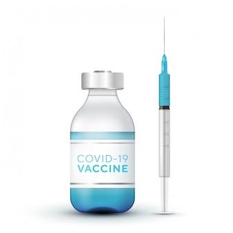 Реалистичные 3d стеклянные ампулы и шприц. инъекция вакцины коронавирус covid-19, новый коронавирус. медицинская иллюстрация