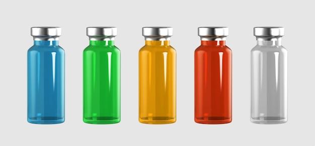 Реалистичные 3d стеклянные ампулы с лекарством. инъекция вакцины. Premium векторы