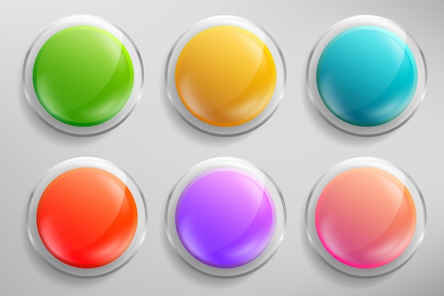 Realistic 3d glass buttons collection or isolated glossy badges in different color