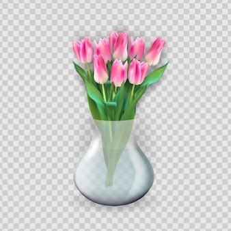 チューリップの花とリアルな3dガラス透明花瓶。ポスター、グリーティングカードのデザイン要素。