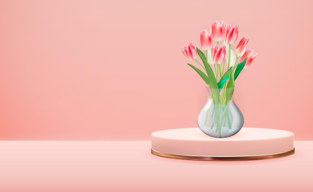ローズゴールドの台座にチューリップの花が付いたリアルな3dガラス透明花瓶
