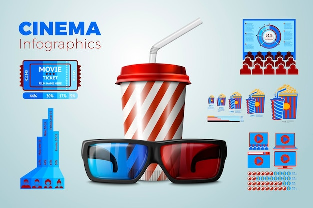 Realistic 3d glasses and drink cup with business infographics, icons and charts