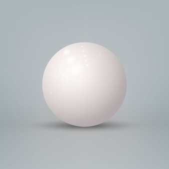 Realistic 3d glossy white sphere isolated on white background