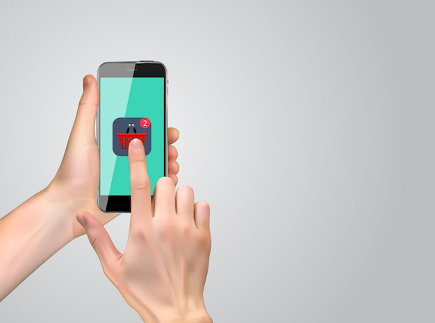 Realistic 3d hand with shopping icon.