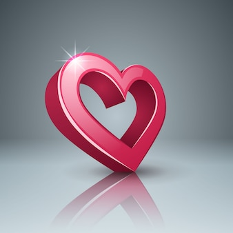 Realistic 3d icon. heart and love.