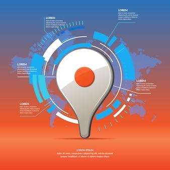 リアルな3dアイコンマップポインター。背景に世界地図とビジネスのインフォグラフィックとチャート。