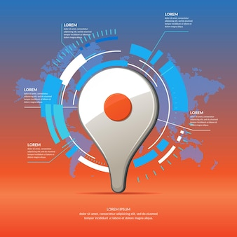 Realistic 3d icon map pointer. business infographics and chart with world map on background.