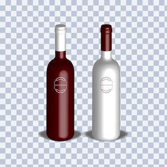 Реалистичная трехмерная иллюстрация бутылки вина
