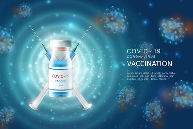 코로나 바이러스 covid-19 글로벌 전염병 독감 질환 배경 이미지에 대한 현실적인 3d 주사 백신 주사기