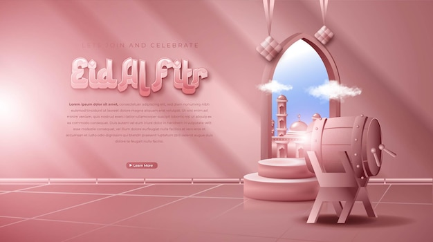 Realistic 3d islamic ornament composition for eid mubarak or eid al fitr banner