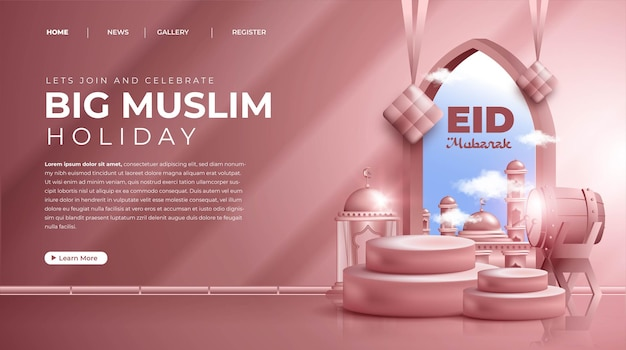 Realistic 3d islamic ornament composition for eid mubarak or eid al fitr landing page