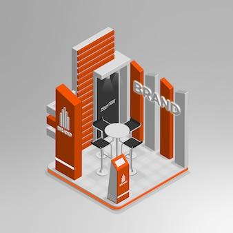 Реалистичный 3d изометрический выставочный стенд