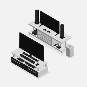 Realistic 3d isometric furniture set